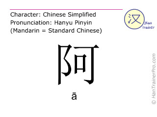Chinese characters  ( a / ā ) with pronunciation (English translation: <i>initial particle</i> )
