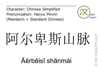 Chinesische Schriftzeichen  ( Aerbeisi shanmai / Āĕrbēisī shānmài ) mit Aussprache (Deutsche Bedeutung: Alpen )