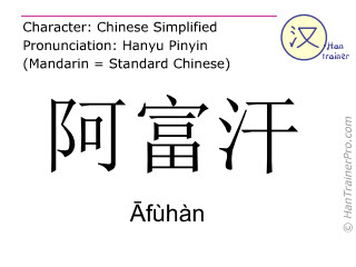Chinese characters  ( Afuhan / Āfùhàn ) with pronunciation (English translation: Afghanistan )