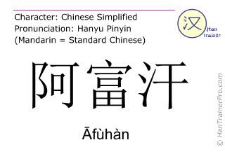 Chinese characters  ( Afuhan / Āfùhàn ) with pronunciation (English translation: Afghanistan )