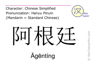 Chinese characters  ( Agenting / Āgēntíng ) with pronunciation (English translation: Argentina )