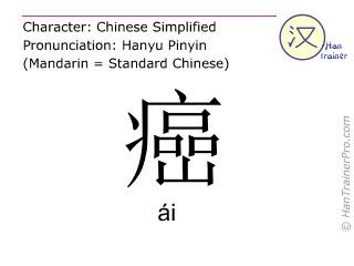 Chinesische Schriftzeichen  ( ai / ái ) mit Aussprache (Deutsche Bedeutung: Krebs )
