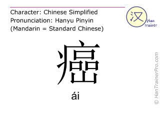 Caracteres chinos  ( ai / ái ) con pronunciación (traducción española: cáncer )