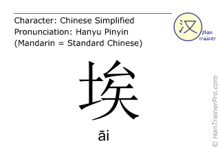 Chinese characters  ( ai / &#257;i ) with pronunciation (English translation: <m>dust</m> )