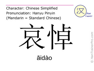 Chinese characters  ( aidao / āidào ) with pronunciation (English translation: condolence )