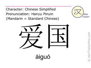 Chinese characters  ( aiguo / àiguó ) with pronunciation (English translation: patriotic )