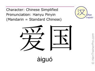 汉字  ( aiguo / àiguó ) 包括发音 (英文翻译: patriotic )
