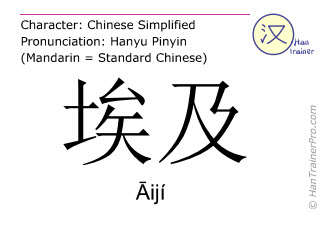 Chinese characters  ( Aiji / Āijí ) with pronunciation (English translation: Egypt )