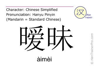Caracteres chinos  ( aimei / àimèi ) con pronunciación (traducción española: ambiguo )