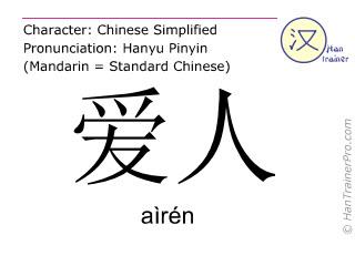 Caracteres chinos  ( airen / aìrén ) con pronunciación (traducción española: cónyuge )