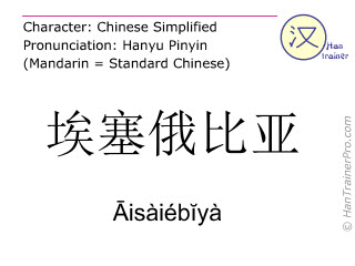 Chinese characters  ( Aisaiebiya / Āisàiébĭyà ) with pronunciation (English translation: Ethiopia )