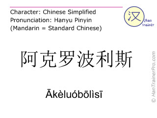 Chinese characters  ( Akeluobolisi / Ākèluóbōlìsī ) with pronunciation (English translation: Acropolis )