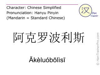 Caracteres chinos  ( Akeluobolisi / Ākèluóbōlìsī ) con pronunciación (traducción española: acrópolis )
