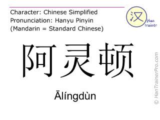 Caractère chinois  ( Alingdun / Ālíngdùn ) avec prononciation (traduction française: Arlington )