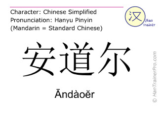 Chinese characters  ( Andaoer / Āndàoĕr ) with pronunciation (English translation: Andorra )