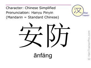 Chinese characters  ( anfang / ānfáng ) with pronunciation (English translation: security )