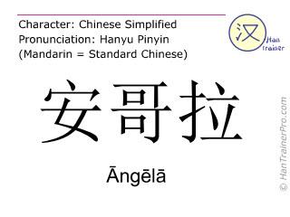 Chinesische Schriftzeichen  ( Angela / Āngēlā ) mit Aussprache (Deutsche Bedeutung: Angola )