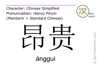 Chinese characters  ( anggui / ángguì ) with pronunciation (English translation: expensive )