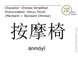 Caracteres chinos  ( anmoyi / ànmóyĭ ) con pronunciación (traducción española: sillón de masaje )