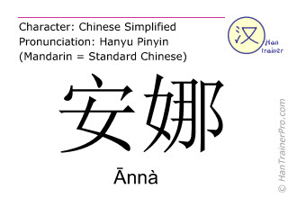 Chinese characters  ( Anna / Ānnà ) with pronunciation (English translation: Anna )