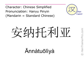 Chinese characters  ( Annatuoliya / Ānnàtuōlìyà ) with pronunciation (English translation: Anatolia )