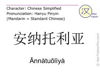 Chinesische Schriftzeichen  ( Annatuoliya / Ānnàtuōlìyà ) mit Aussprache (Deutsche Bedeutung: Anatolien )