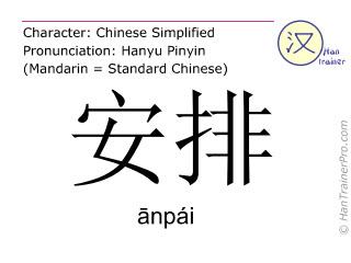 Caractère chinois  ( anpai / ānpái ) avec prononciation (traduction française: organiser )