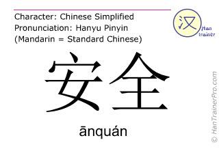 Chinesische Schriftzeichen  ( anquan / ānquán ) mit Aussprache (Deutsche Bedeutung: sicher )