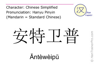 Chinese characters  ( Anteweipu / Āntèwèipŭ ) with pronunciation (English translation: Antwerp )