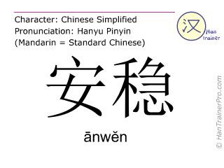 Caractère chinois  ( anwen / ānwĕn ) avec prononciation (traduction française: calme et sûr )