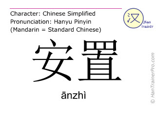 Chinese characters  ( anzhi / ānzhì ) with pronunciation (English translation: to emplace )