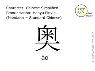 Chinese characters  ( ao / &agrave;o ) with pronunciation (English translation: <m>profound</m> )