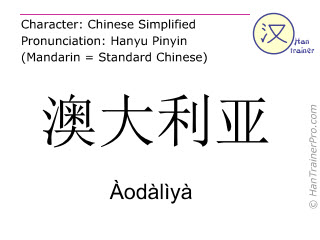 Chinese characters  ( Aodaliya / Àodàlìyà ) with pronunciation (English translation: Australia )