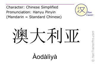 Chinesische Schriftzeichen  ( Aodaliya / Àodàlìyà ) mit Aussprache (Deutsche Bedeutung: Australien )
