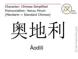 Chinese characters  ( Aodili / Àodìlì ) with pronunciation (English translation: Austria )
