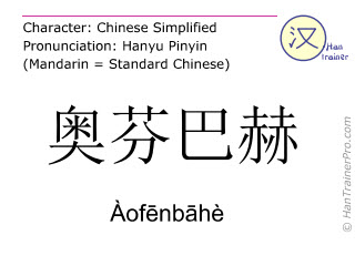 Chinese characters  ( Aofenbahe / Àofēnbāhè ) with pronunciation (English translation: Offenbach )