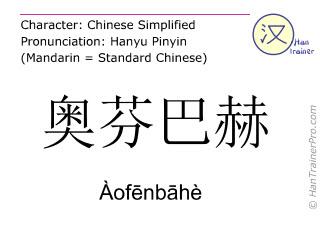 Chinesische Schriftzeichen  ( Aofenbahe / Àofēnbāhè ) mit Aussprache (Deutsche Bedeutung: Offenbach )