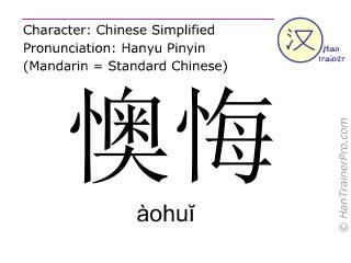 Chinesische Schriftzeichen  ( aohui / àohuĭ ) mit Aussprache (Deutsche Bedeutung: bereuen )