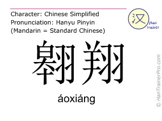 Chinese characters  ( aoxiang / áoxiáng ) with pronunciation (English translation: to hover )