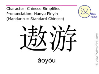 Chinese characters  ( aoyou / áoyóu ) with pronunciation (English translation: to roam )