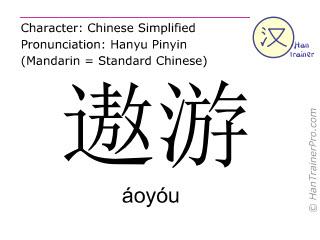Chinesische Schriftzeichen  ( aoyou / áoyóu ) mit Aussprache (Deutsche Bedeutung: umherreisen )