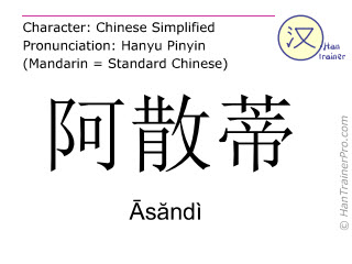 Chinese characters  ( Asandi / Āsăndì ) with pronunciation (English translation: Ashanti )