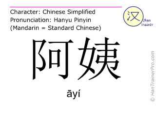 Chinese characters  ( ayi / āyí ) with pronunciation (English translation: aunt )