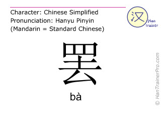 Chinese characters  ( ba / bà ) with pronunciation (English translation: to cease )