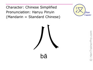 Chinese characters  ( ba / bā ) with pronunciation (English translation: eight )