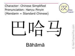 Caractère chinois  ( Bahama / Bāhāmă ) avec prononciation (traduction française: Bahamas )