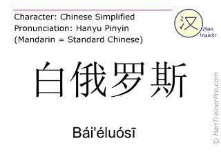 Chinesische Schriftzeichen  ( Bai'eluosi / Bái'éluósī ) mit Aussprache (Deutsche Bedeutung: Weißrussland )
