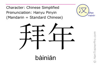 Chinese characters  ( bainian / bàinián ) with pronunciation (English translation: to wish somebody a Happy New Year )
