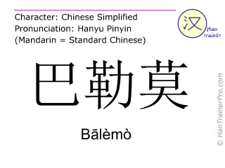 Chinese characters  ( Balemo / Bālèmò ) with pronunciation (English translation: Palermo )