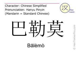 Chinese characters  ( Balemo / Bālèmò ) with pronunciation (English translation: Palermo )